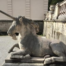 Stone statue of a unicorn, photo taken in Salzburg