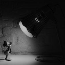 Donald Duck model in a spotlight