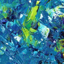 Abstract paintings in blue and yellow